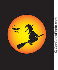 witch moon - a wicked witch at halloween on broomstick