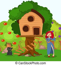Witch near home at tree, black cat character vector illustration. Spooky halloween scene, woman in hat near cartoon house.