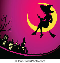 Witch night - Fancy witch sitting on the Moon at Halloween...