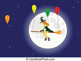 Witch on a broom with balloon