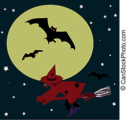 Witch on a broomstick and bat on the background of the moon. Halloween vector illustration.