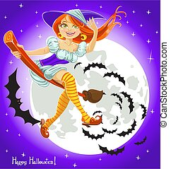 Witch on a broomstick in the night