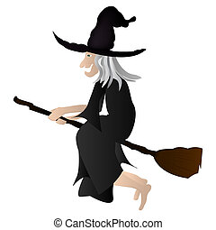 witch on a broomstick.