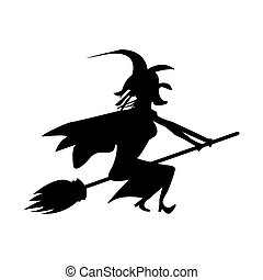 witch on a flail on a white background