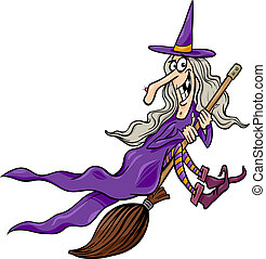 witch on broom cartoon illustration - Cartoon Illustration...