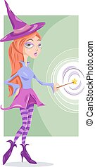 witch or fairy fantasy cartoon illustration