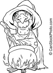 Outline illustration of a witch stirring concoction in the cauldron