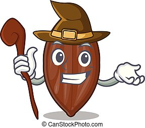 Witch pecan nuts pile on plate cartoon vector illustration