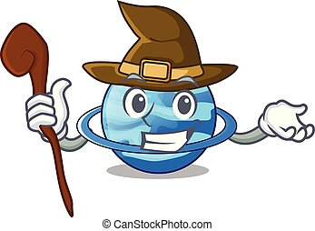 Witch planet uranus in the cartoon form vector illustration