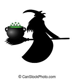 witch pot luck potion on her broom for Halloween