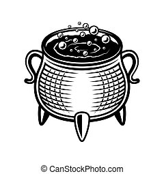 Witch pot vector illustration in monochrome style