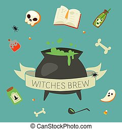 Witch potion cauldron halloween elements of black magic cartoon vector illustration. Book of spells, skull, hex with green brew or potion cauldron, ghost, bugs and bones.