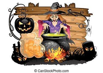 Witch preparing a potion