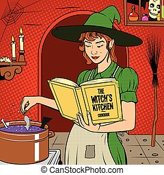 Witch preparing a potion vector illustration