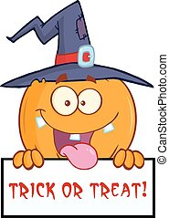 Witch Pumpkin Over A Blank Sign