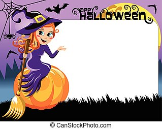 Witch pumpkin presenting blank white frame - Young beautiful...