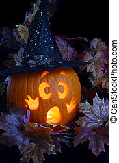 Witch Pumpkin - A frightened jackolantern dressed as a witch...