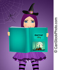 witch reads stories of fear on Halloween