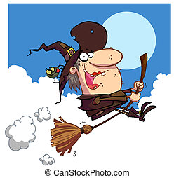 Witch rides broom - Ugly Female Witch In Brown With A Spider...