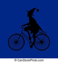 Witch riding a bicycle on Halloween, flat style