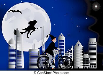 Witch riding a bike around the city and the witch flying on a broom over the city in celebration of Halloween