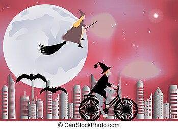 Witch riding a bike around the city and the witch flying on a broom over the city in celebration of Halloween in celebration of Halloween