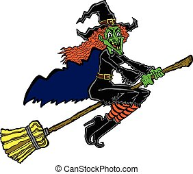 Witch riding a broom cartoon vector