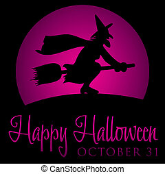 Witch rising moon Halloween card in vector format.