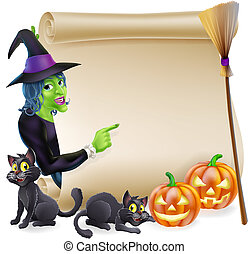 Witch Scroll Halloween Banner - Halloween scroll or banner...