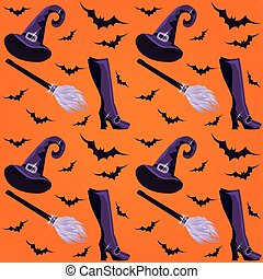 Witch seamless pattern, vector illustration