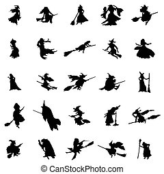 Witch silhouettes set