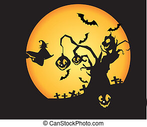 Witch sitting on broom flying, cemeteries and trees in the moonlight is particularly terrorist