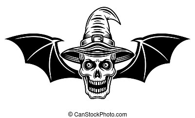 Witch skull with bat wings vector illustration