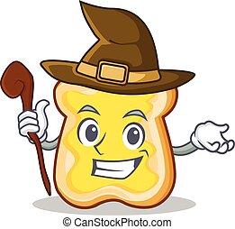 Witch slice bread cartoon character vector art illustration