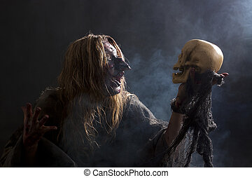 Witch speaks with skull - ugly witch speaks with skull