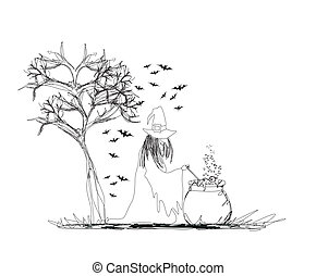 witch stirring a potion in cauldron