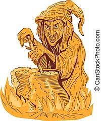 Witch Stirring Brew Pot Drawing