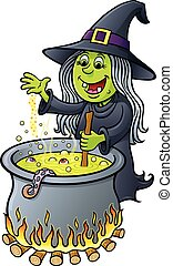 Witch Stirring Bubbling Cauldron - Cartoon illustration of a...