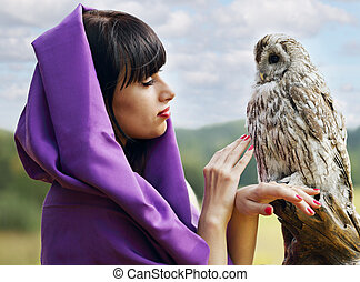 witch talking with owl