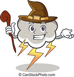 Witch thunder cloud character cartoon vector illustration