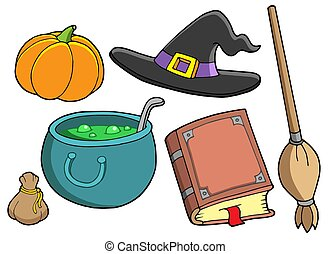 Witch tools on white background - isolated illustration.
