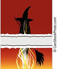 Witch Torn Poster - Abstract witch being burned at the stake...