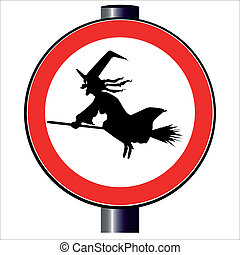 Witch Traffic Sign - A witch flying on a broomstick on a...