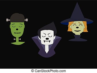 witch, vampire and green monster face on a black background