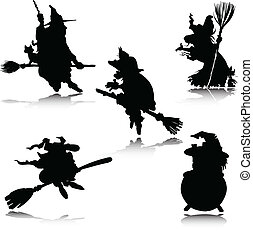 witch vector silhouettes