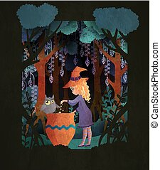 Witch with a cauldron in scary night forest. Fairy tale book cover or Halloween poster template