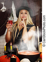 witch with a glass
