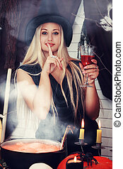 witch with a glass, tinted