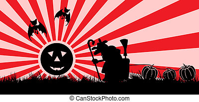 Witch with a mortar in Halloween