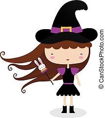 Witch With a Wand - A vector illustration of a witch holding...
